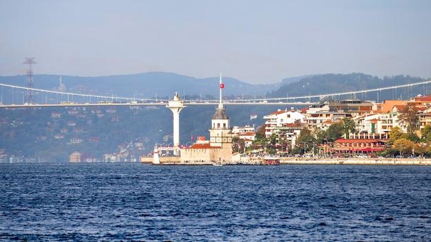 Costa do canal do bósforo em istambul. forte e edifícios perto da costa, uma ponte com carros. peru