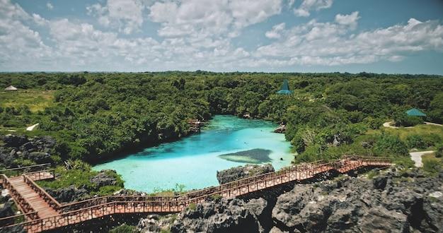 Costa do oceano de penhasco verde com lago límpido em plantas tropicais e árvores em vista aérea