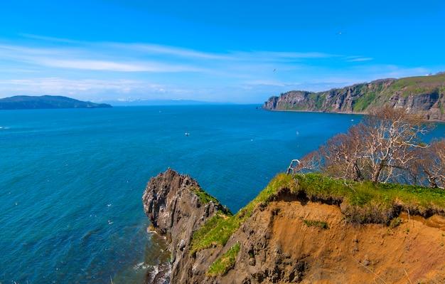 Costa do oceano pacífico em kamchatka