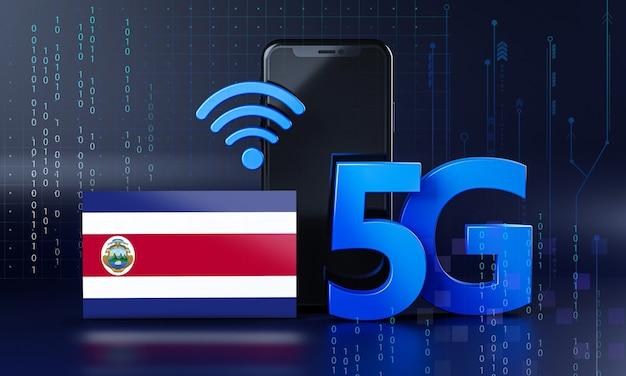 Costa rica pronta para o conceito de conexão 5g. fundo de tecnologia de smartphone de renderização 3d