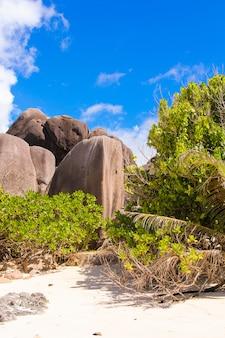Costa rochosa lisa grande em seychelles