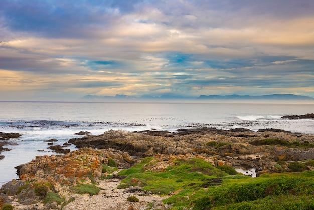 Costa rochosa no oceano em de kelders, áfrica do sul