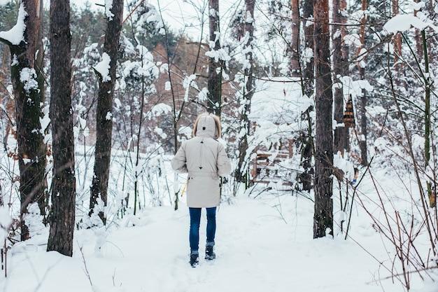 Costas do homem com casaco de inverno, caminhar pela floresta de neve