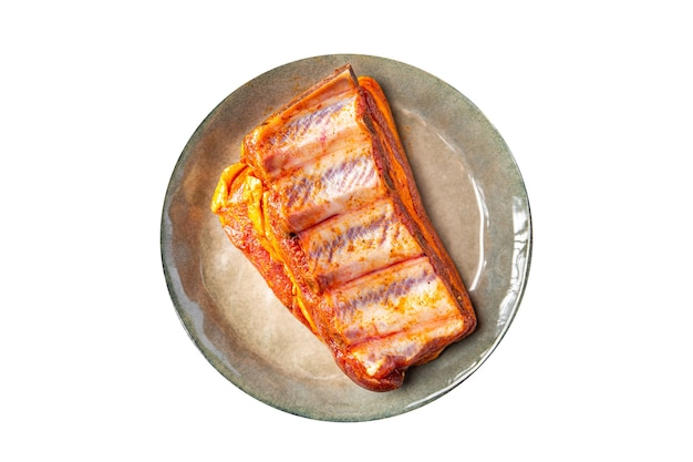 Costelas cruas carne fresca de porco especiarias páprica refeição lanche na mesa cópia espaço comida fundo rústico