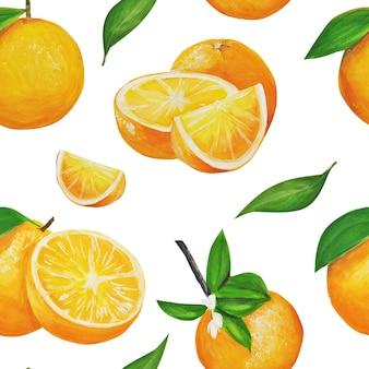 Costura padrão de laranjas em aquarela.