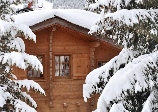 Cottage em abetos nevando