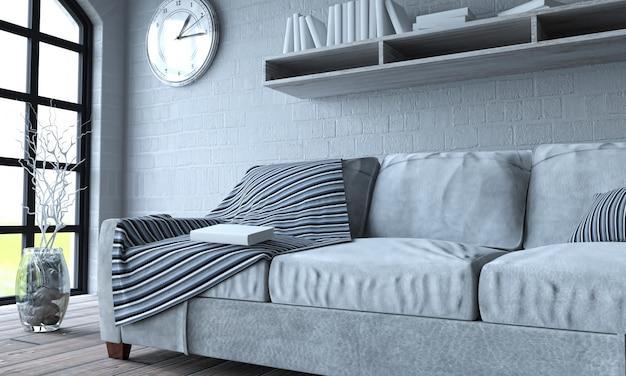 Couch iluminada por uma grande janela