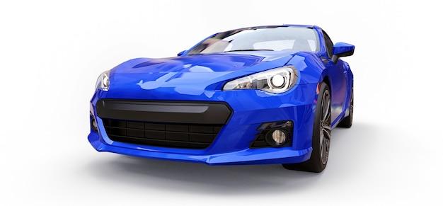 Coupé azul para carro esportivo pequeno. renderização 3d.