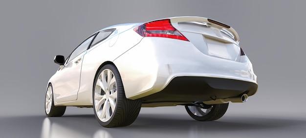 Coupé de carro esportivo pequeno branco. renderização 3d.