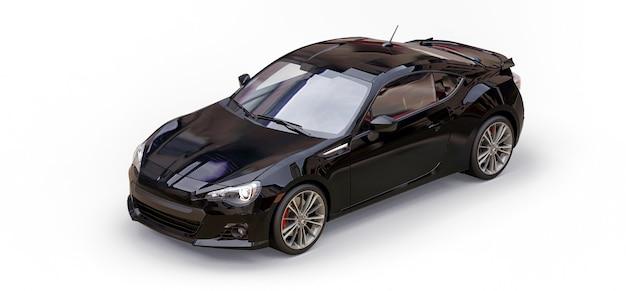 Coupé preto de carro esportivo pequeno. renderização 3d.