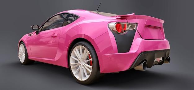 Coupé rosa para carro esportivo pequeno. renderização 3d.
