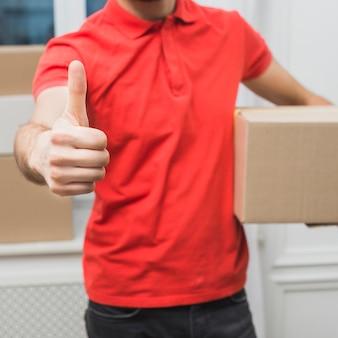 Courier de colheita gestos polegar-up