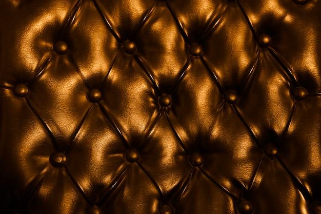 Couro capitonado laranja tufado, padrão de couro luxuoso abotoado