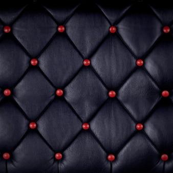 Couro genuíno preto com botão vermelho