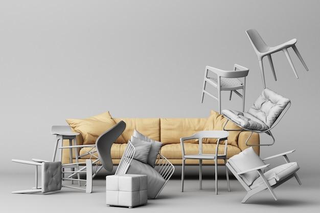 Couro marrom do sofá em torno de cadeiras brancas em fundo branco vazio.