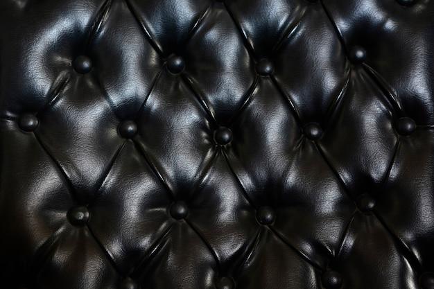 Couro preto capitonado tufado, padrão de couro luxuoso abotoado