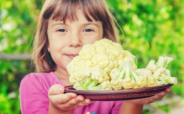Couve-flor. foco seletivo. comida. comida de natureza.