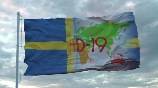 Covid-19 assina na bandeira nacional da suécia. conceito de coronavírus. renderização 3d.