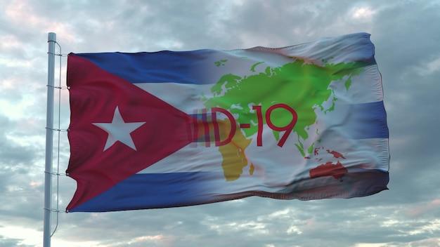 Covid-19 assina na bandeira nacional de cuba. conceito de coronavírus. renderização 3d.