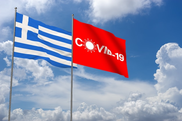 Covid-19 no fundo da nuvem com a bandeira e o ícone da grécia. coronavírus na grécia. renderização 3d