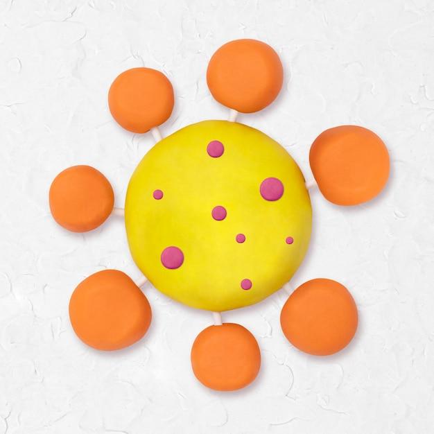 Covid-19, personagem de argila com vírus, arte criativa artesanal fofa para crianças