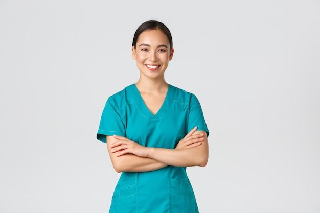 Covid-19, profissionais de saúde, conceito de pandemia.