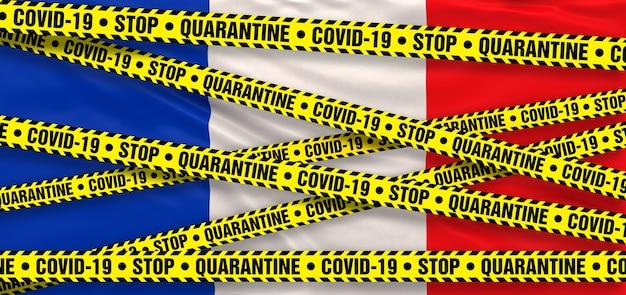 Covid19 coronavirus quarantine area na frança. fundo da bandeira francesa. ilustração 3d