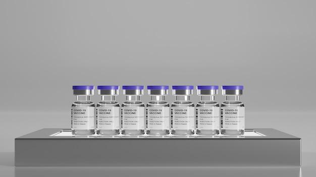 Covid19, vacinas de mrna, antivírus, ampolas de coronavírus ficam no pódio com fundo cinza, renderização em 3d, ilustração em 3d