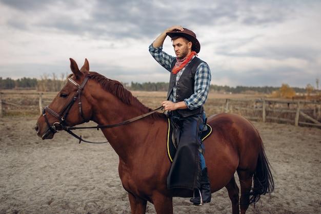 Cowboy andando a cavalo no vale do deserto, oeste