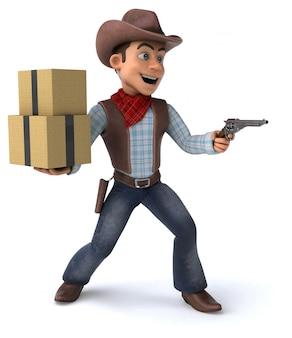 Cowboy divertido com caixas