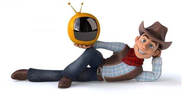 Cowboy divertido com tv retrô