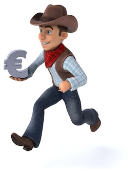 Cowboy divertido - ilustração 3d