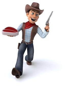 Cowboy divertido - renderização em 3d
