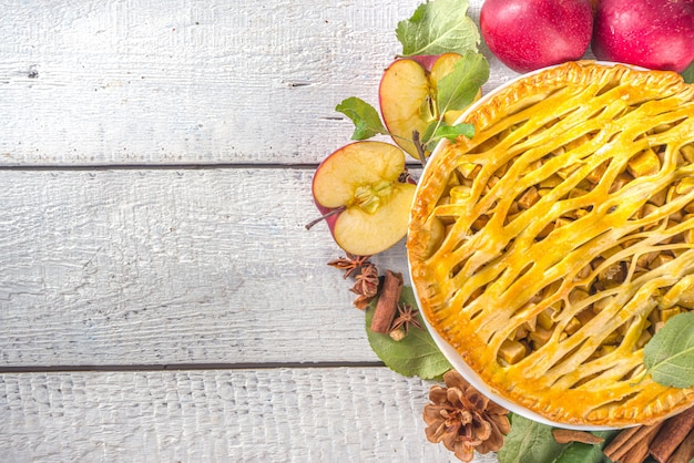 Cozimento tradicional de outono. bolos de outono-inverno tradicionais americanos e europeus - com abóbora, noz-pecã e maçã