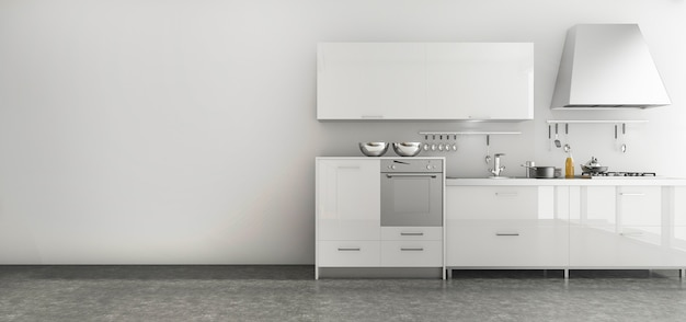 Cozinha agradável de renderização 3d definido na sala de estilo minimalista