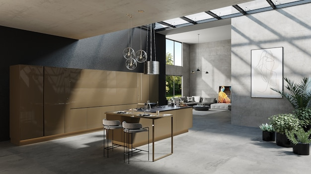 Cozinha americana com design de sala de estar e plantas, renderização 3d