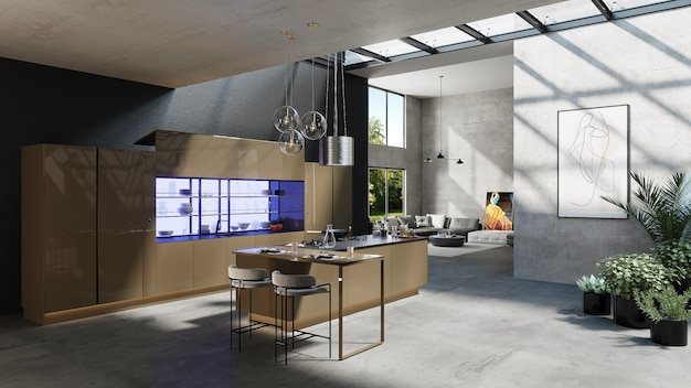 Cozinha americana com design de sala de estar, renderização 3d