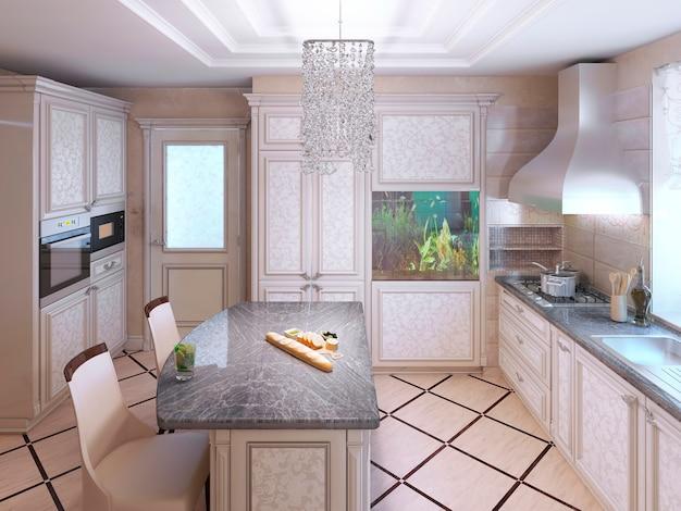 Cozinha art déco com móveis pintados