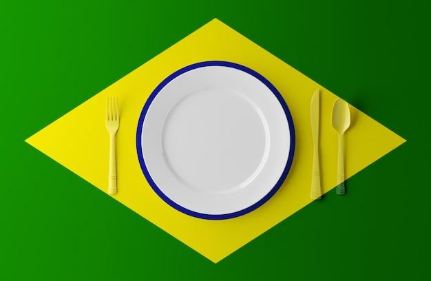 Cozinha autêntica do brasil. prato com bandeira brasileira e talheres. ilustração 3d