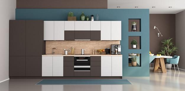 Cozinha azul e branca moderna com mesa de jantar