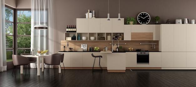 Cozinha bege moderna em uma casa