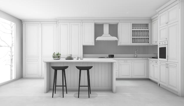 Cozinha clássica branca de renderização 3d