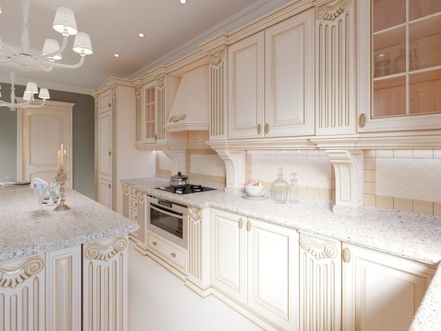 Cozinha clássica de madeira com detalhes em madeira, design de interiores bege luxuoso, renderização em 3d