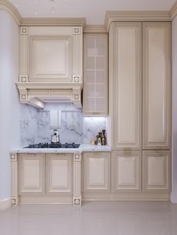 Cozinha clássica, design interior minimalista escandinavo com detalhes em madeira, renderização em 3d