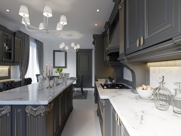 Cozinha clássica, design interior moderno e minimalista com detalhes em madeira, renderização em 3d