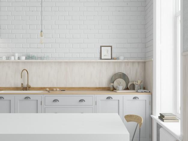 Cozinha com armários brancos e bancada de madeira