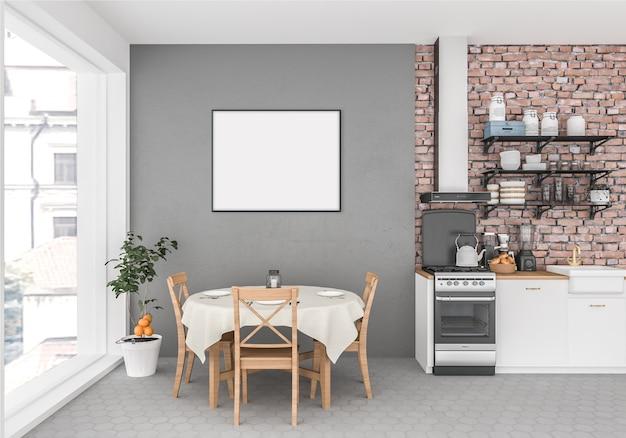 Cozinha com moldura horizontal vazia, fundo de obras de arte, interior