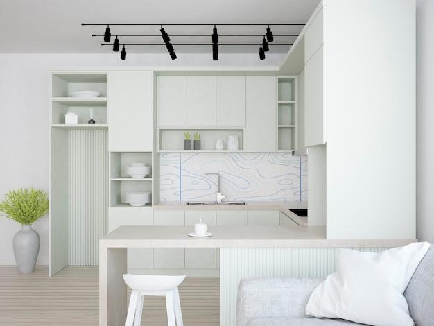 Cozinha com móveis verdes pastéis e papel de parede de mosaico