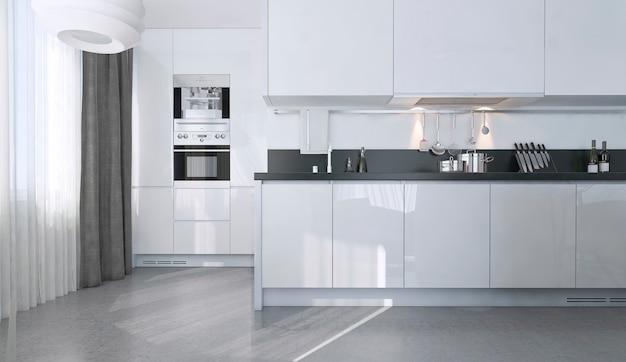 Cozinha contemporânea branca com utensílios de cozinha