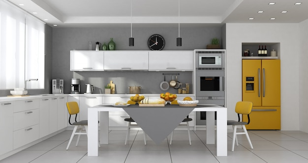 Cozinha contemporânea com mesa